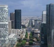 Paris from Grand Arche. View to Arc de triomph from Grand Arche in La Defense, Paris Stock Photography