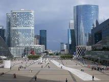 Paris from Grand Arche. View to Arch de triumph from Grand Arche in La Defense, Paris Royalty Free Stock Photo