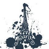Paris graphic typographic card. Design vector art with creative slogan.  Royalty Free Stock Images