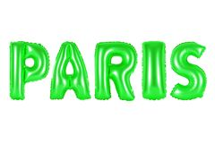 Paris, green color. Paris, green number and letter balloon Stock Photography