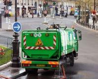 Paris green sanitation truck stock photo