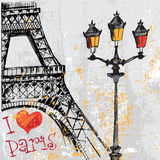Paris grunge background with Eiffel tower Stock Photography