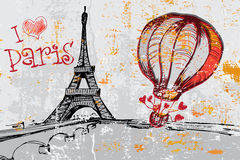 Paris grunge background with Eiffel tower Royalty Free Stock Image
