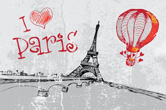 Paris grunge background with Eiffel tower Stock Images