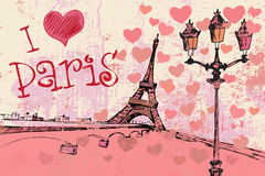 Paris grunge background with Eiffel tower Stock Image