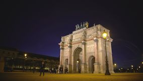 Paris guests viewing Arc de Triomphe du Carrousel, sightseeing tour to France. Stock footage stock video footage