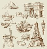 Paris - hand drawn collection Royalty Free Stock Image