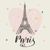 Paris. Hand drawn illustration with Eiffel tower. Romantic card with heart. Vector illustration Stock Photo