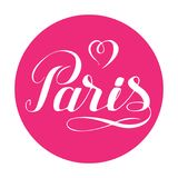 Paris love-01. Paris hand drawn lettering with heart isolated on white background. Design element for greeting cards, creative projects or printed products stock illustration