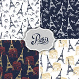 Paris hand drawn patterns set Royalty Free Stock Photography