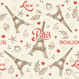Paris hand drawn seamless pattern with Eiffel tower Royalty Free Stock Photo