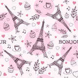 Paris hand drawn seamless pattern vector Royalty Free Stock Photo