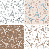 Paris hand drawn seamless patterns set with Eiffel tower Royalty Free Stock Photography