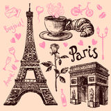 Paris hand drawn symbols set Royalty Free Stock Photos