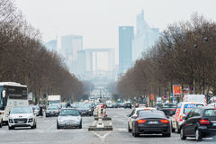 Paris has the worst traffic jams in Europe. View on Paris busine Stock Photography