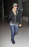 Paris Hilton is seen at LAX airport. LOS ANGELES - FEBRUARY 5: Paris Hilton is seen at LAX . February 5th 2011 in Los Angeles, California Stock Image