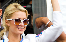 Paris Hilton. Visits Catalonia Circuit for the Moto GP Grand Prix weekend, on June 5, 2011 in Barcelona, Spain Royalty Free Stock Photography