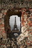 Paris through hole in the wall Royalty Free Stock Photos