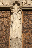 Paris - holy Mary from main portal of Notre Dame Stock Photography