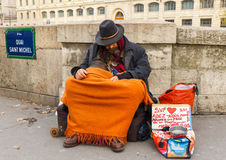 Paris. Homeless. Royalty Free Stock Photography