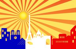 Paris horisont bak solstråle med franska sjunker Arkivfoton