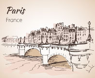 Paris horizontal cityspace. Sketch. On white background Royalty Free Stock Images