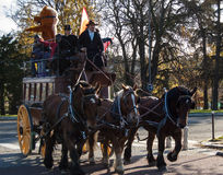 Paris horse parade. PARIS-NOVEMBER 25: Horse parade participants ride near Porte Dauphine on November 25, 2012 in Paris, France. Horse parade announces the Royalty Free Stock Image