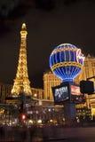 Paris Hotel and Casino. Paris hotel on Las Vegas Blvd lit up at night royalty free stock photography