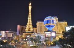Paris Hotel and Casino, Bellagio Hotel and Casino, metropolitan area, landmark, metropolis, city. Paris Hotel and Casino, Bellagio Hotel and Casino is royalty free stock photos