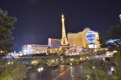 Paris Hotel and Casino, landmark, night, city, metropolis. Paris Hotel and Casino is landmark, metropolis and skyline. That marvel has night, downtown and Royalty Free Stock Photography