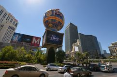 Paris Hotel and Casino, landmark, road, city, urban area. Paris Hotel and Casino is landmark, urban area and balloon. That marvel has road, downtown and cinema Stock Images