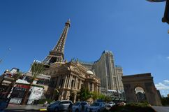 Paris Hotel and Casino, landmark, town, city, urban area. Paris Hotel and Casino is landmark, urban area and tourism. That marvel has town, human settlement and Royalty Free Stock Image