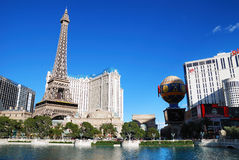Paris Hotel Casino, Las Vegas. With lake on strip Royalty Free Stock Photos