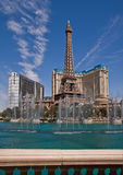 Paris Hotel and Casino in Las Vegas. Afternoon view from Bellagio Hotel overlooking water fountains and tower of Paris Hotel and Casino on the strip. Photo taken Royalty Free Stock Image