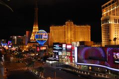 Paris Hotel and Casino, Las Vegas, The Strip, Planet Hollywood Resort and Casino, night, metropolis, landmark, city. Paris Hotel and Casino, Las Vegas, The Strip Stock Images