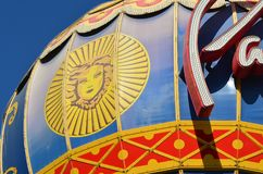 Paris Hotel and Casino, yellow, flag, umbrella, carousel, carrousel, merry-go-round, roundabout, whirligig. Paris Hotel and Casino is yellow, carousel, carrousel Stock Photography