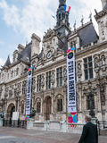 Paris Hotel de Ville decorated to welcome university students back to school Stock Images