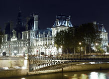 Paris: Hotel de ville and Seine river Royalty Free Stock Images