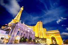 Paris Hotel Las Vegas. LAS VEGAS, NEVADA - MAY 7: Landmark Paris Hotel and Casino in Las Vegas, Nevada as seen at night on May 7, 2012. Stretching 4.2 miles, the Stock Image