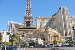 Paris-Hotel in Las Vegas mit einer Replik des Eiffelturms. lizenzfreie stockfotos
