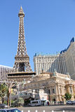 Paris-Hotel in Las Vegas mit einer Replik des Eiffelturms. lizenzfreies stockfoto