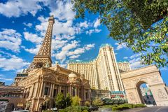 Paris Hotel at Las Vegas. LAS VEGAS, NEVADA - Aug 9, 2017: Replica of Eiffel Tower and Arc de triomphe at the Paris Hotel Stock Images