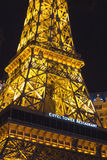 Paris Hotel in Las Vegas with a replica of the Eiffel Tower. Stock Photos