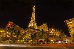 The Paris Hotel on Las Vegas Strip at night Stock Photography