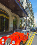 Paris Hotel red sports car Stock Photo