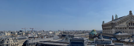 Paris huge aerial view from lafayette. Paris big panorama from galeries lafayette terrace Stock Images