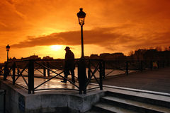 Paris human shadow on pont des arts Stock Photography
