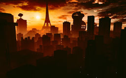Paris i framtiden vektor illustrationer