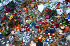 Paris, i Mourning/av Bataclan dödanden Arkivfoto