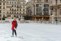 Paris. Ice skating rink. Stock Photos